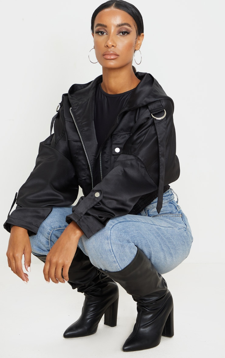 Black Satin Oversized Hooded Pocket Bomber Jacket 3