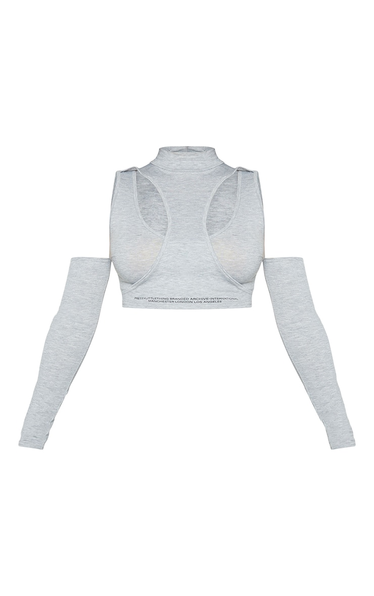 PRETTYLITTLETHING Grey Tape Cut Out Bardot Crop Top 5