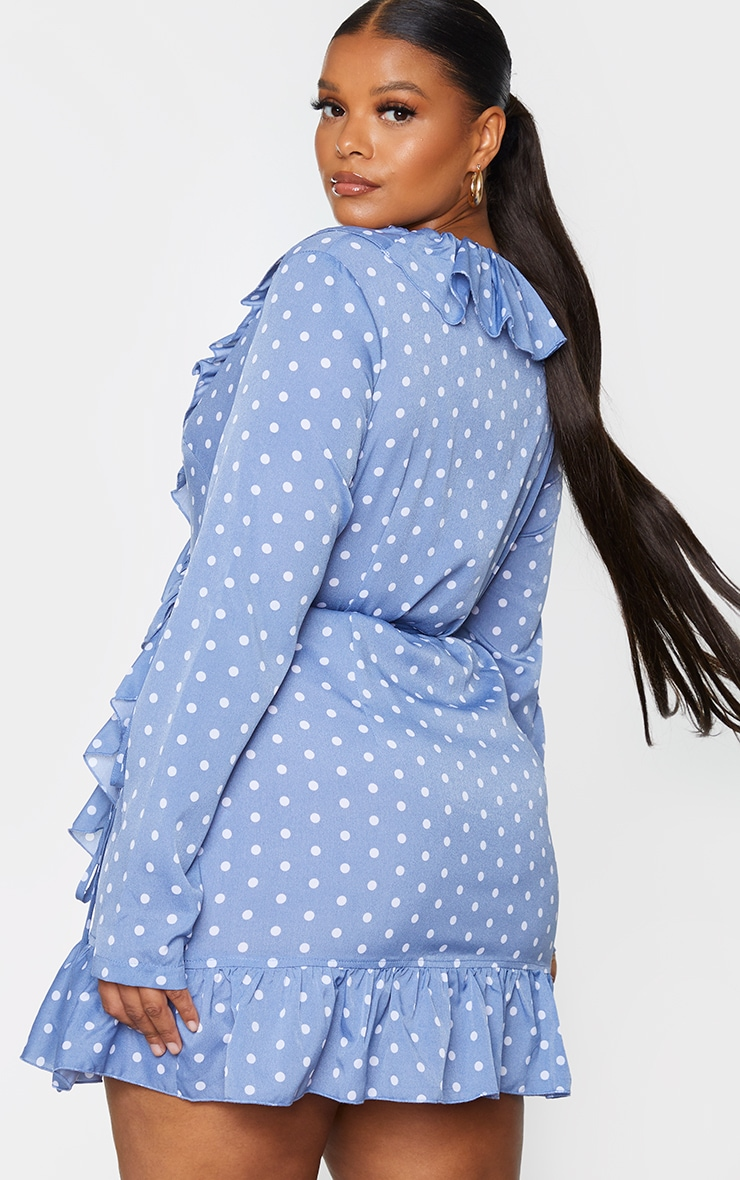 Plus Dusty Blue Polka Dot Frill Detail Wrap Dress 2