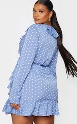 Plus Dusty Blue Polka Dot Frill Detail Wrap Dress 2