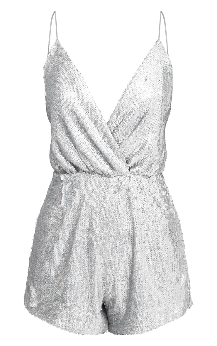 Silver Strappy Sequin Wrap Playsuit 3