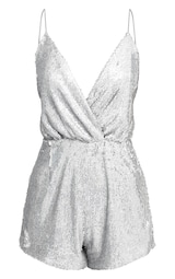 9cc803a5637 ... PrettyLittleThing Read more I agree. Previous. Silver Strappy Sequin  Wrap Playsuit image 3