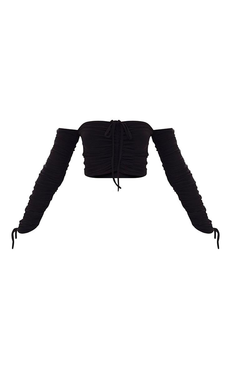 Black Slinky Bardot Ruched Sleeve Crop Top 3