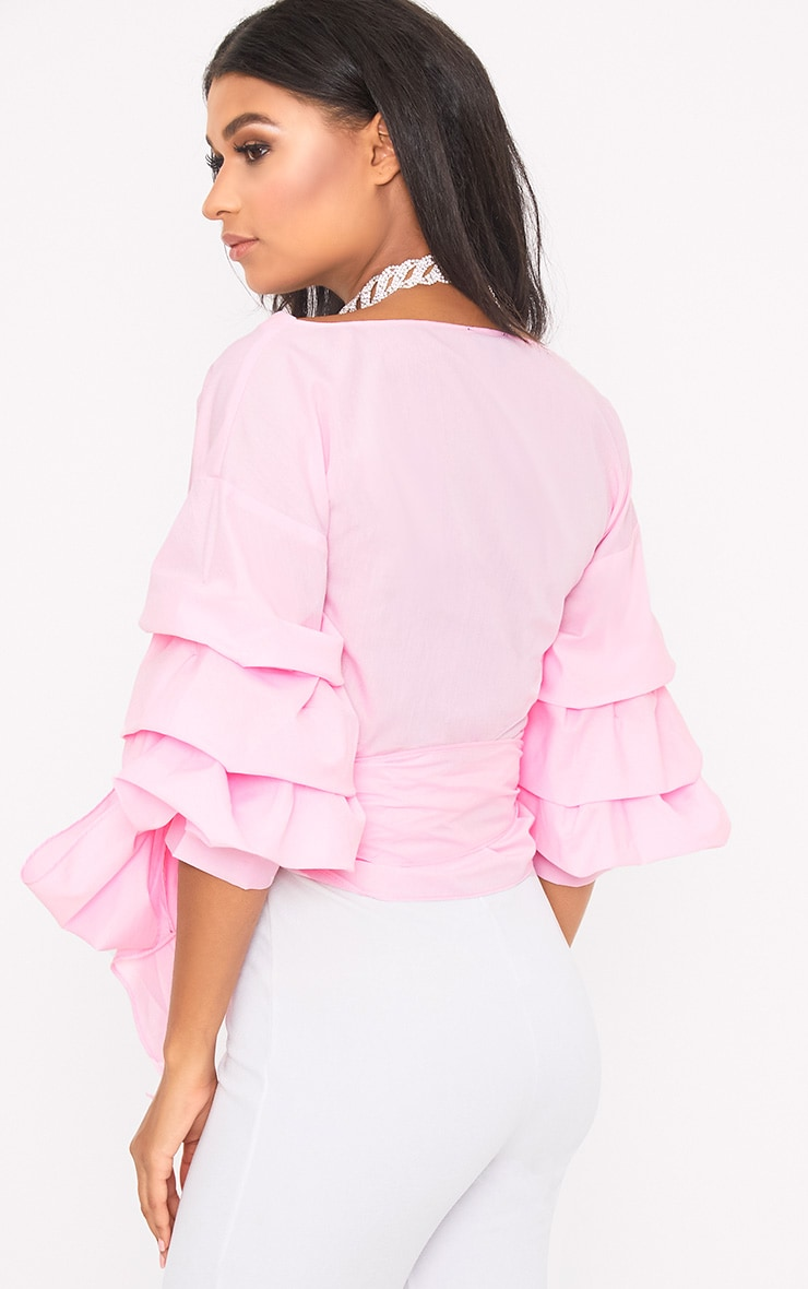 Marlow Baby Pink Oversized Ruffle Sleeve Low Shoulder Shirt 2