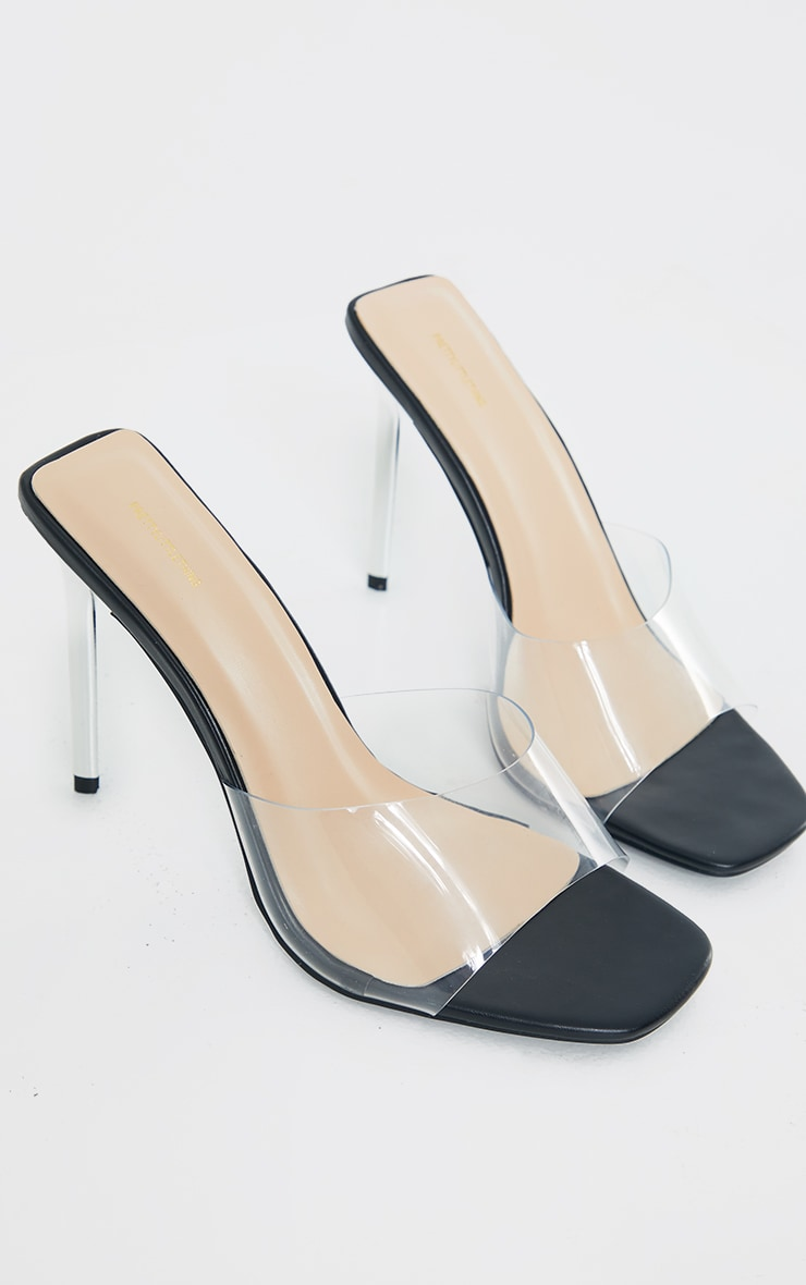 Black Wide Fit Pu Clear Strap Contrast High Heeled Mules 1