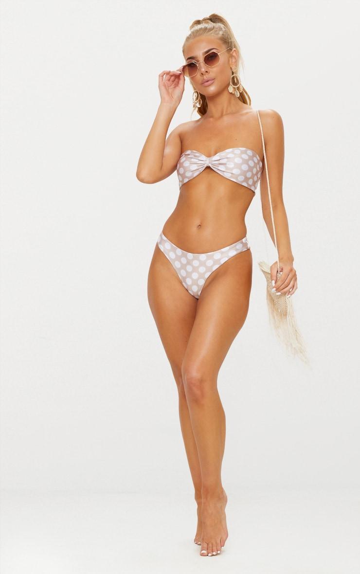 Nude Polka Dot Bow Bikini Top 4