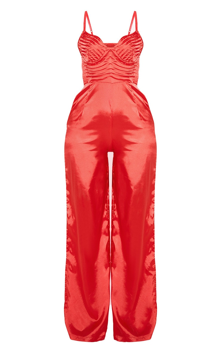 Red Satin Quilted Bust Wide Leg Jumpsuit 4