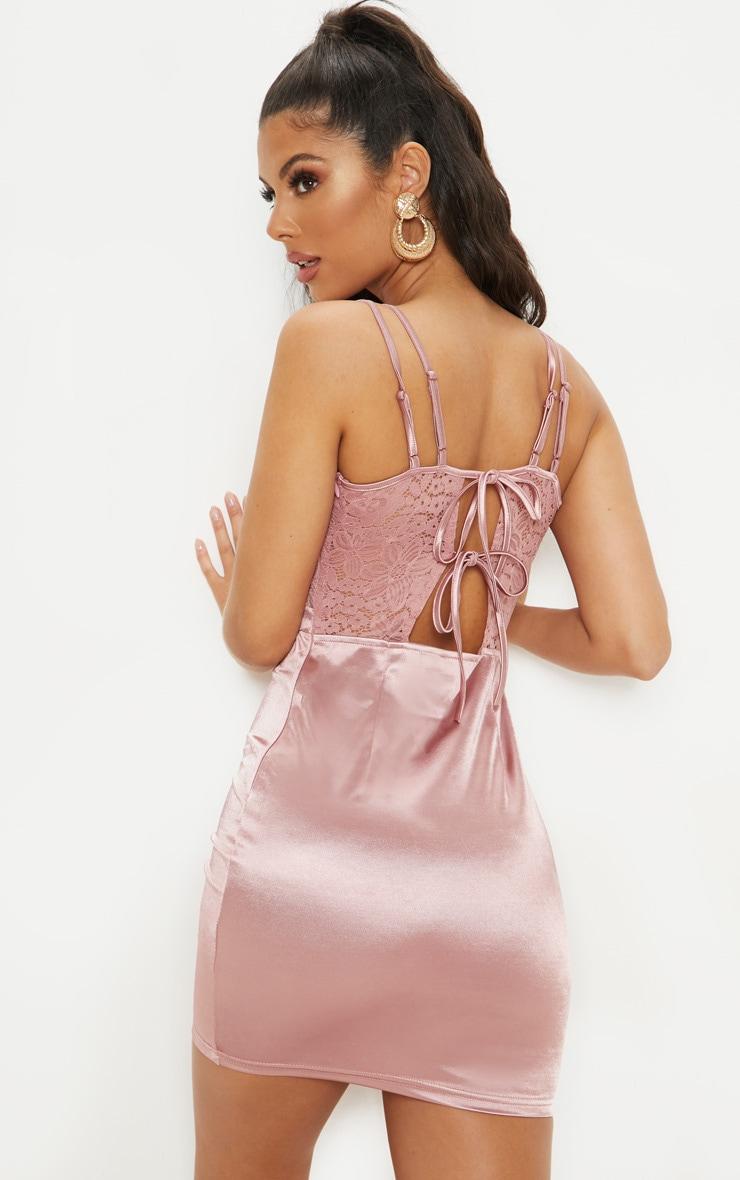Rose Satin Lace Insert Double Strap Bodycon Dress 2