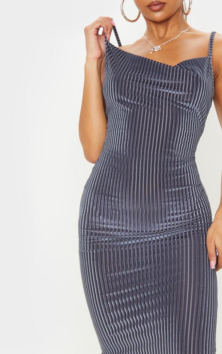 Grey Velvet Rib Cowl Neck Midi Dress 5