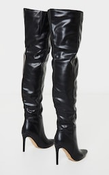 Black Thigh High Stiletto Boots 4