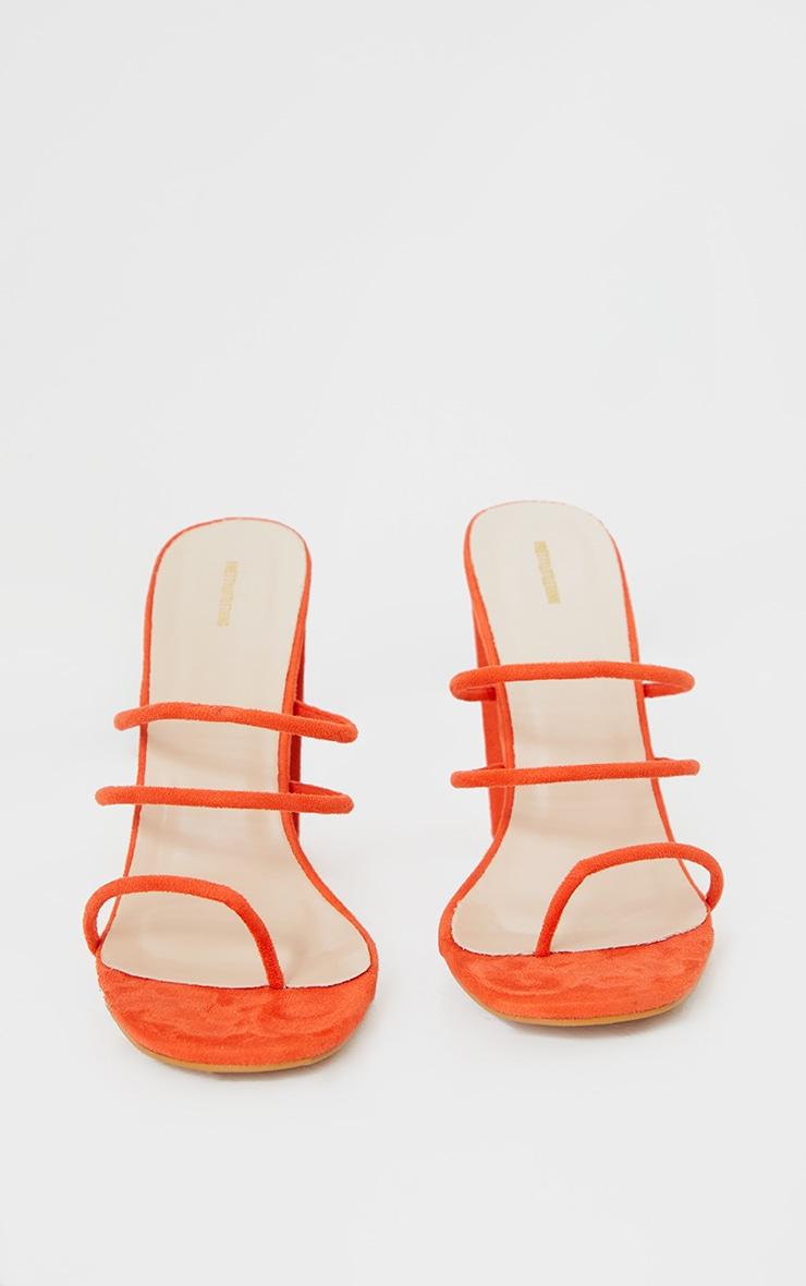Orange Thin Triple Tube Strap Toe Loop Block Heel Mule 4