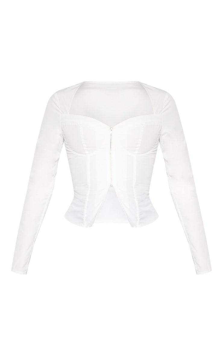White Woven Long Sleeve Zip Front Corset Top 3