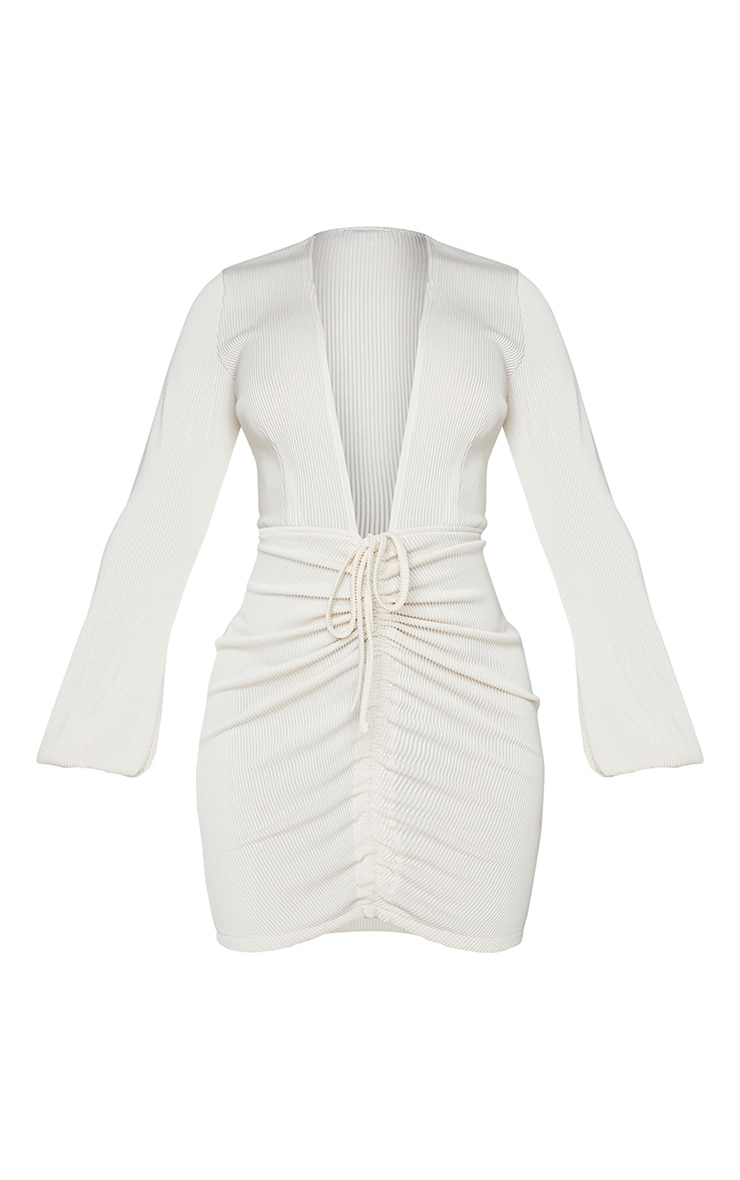 Shape Cream Rib Plunge Ruched Detail Bodycon Dress 5