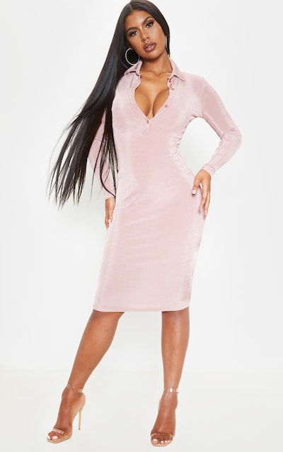 Blush Slinky Button Front Midi Polo Shirt Dress