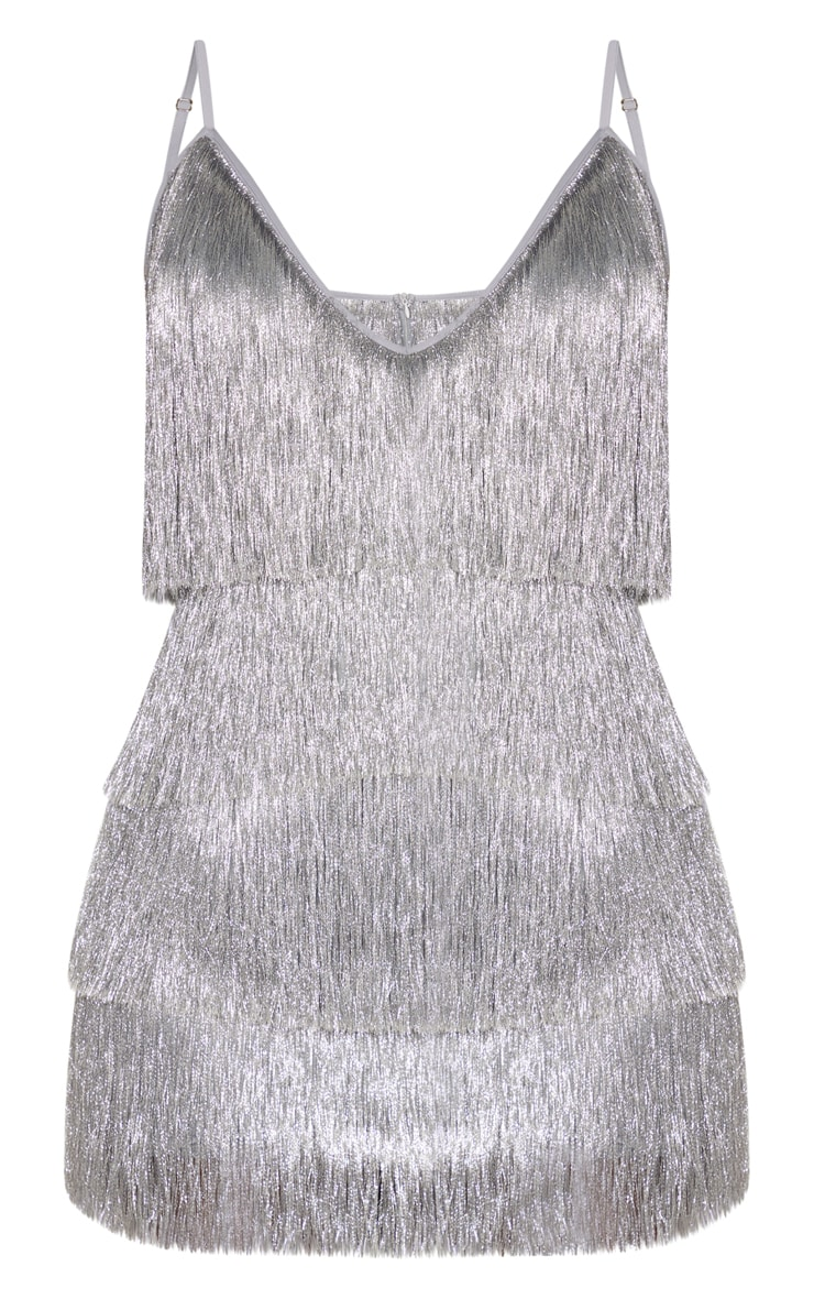 Silver Tassel Fringed Strappy Bodycon Dress 3