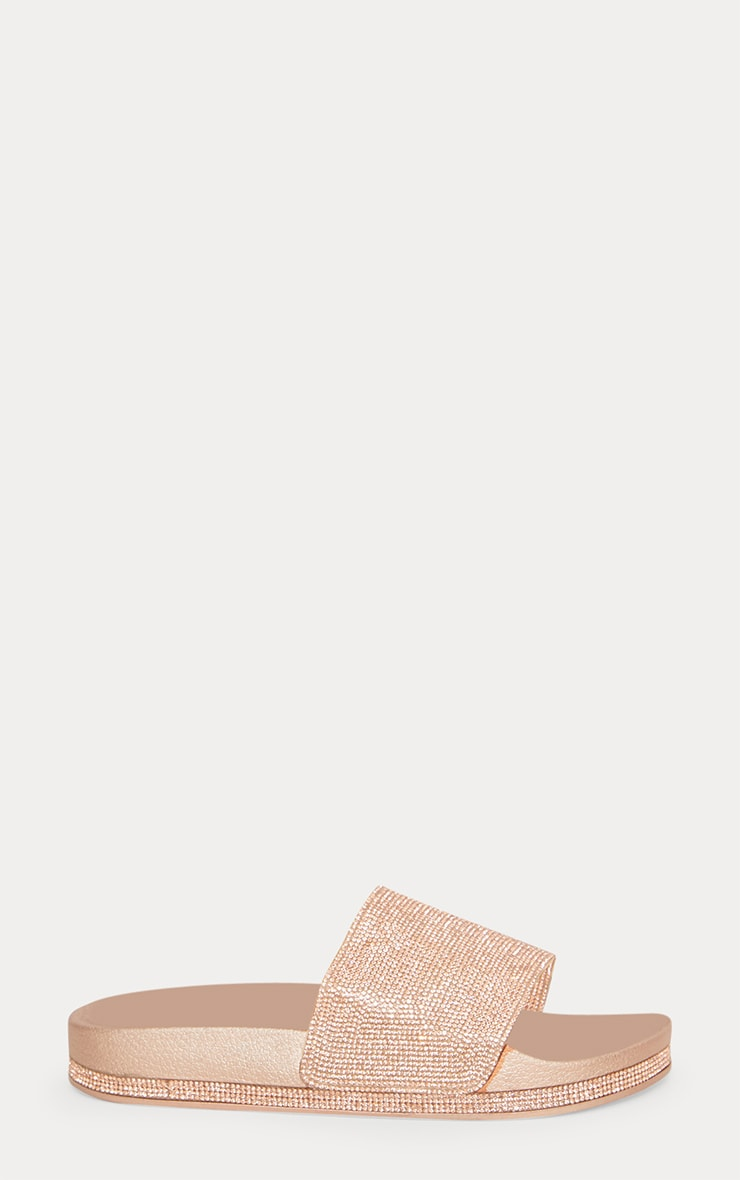 Rose Gold Diamante Embellished Slides 4