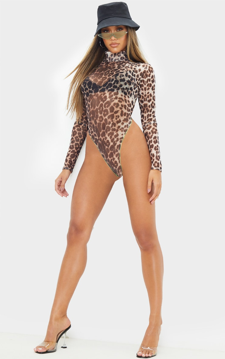 Tan Leopard Mesh Contrast Stitch High Leg High Neck Bodysuit 1