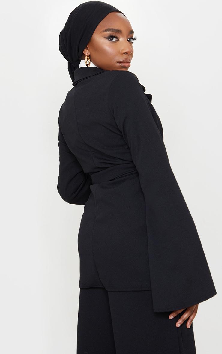 Black Crepe Flare Sleeve Tie Jacket 2