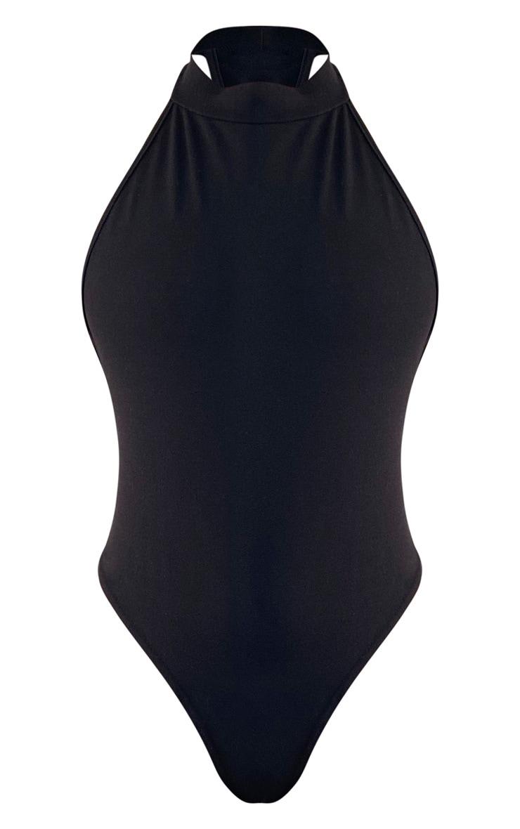 Black Crepe Halterneck Back Panel Bodysuit 5