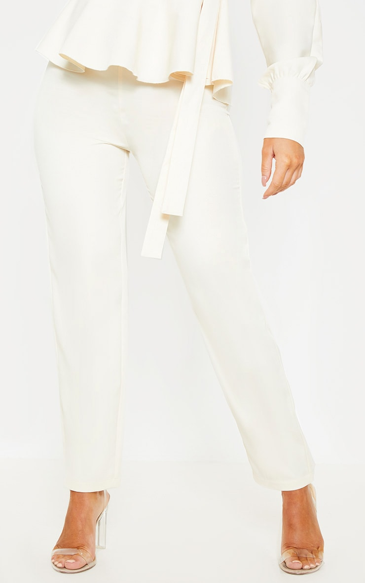 Cream High Waisted Cigarette Pants 2