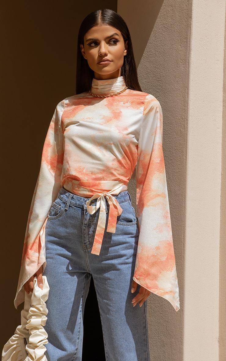 Orange Watercolour Print Tie Detail High Neck Blouse 1