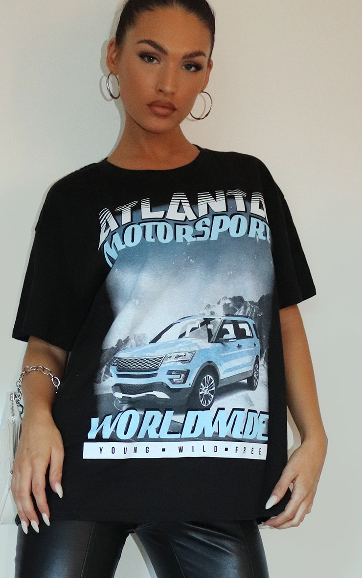 Black Atlanta Motorsport Worldwide Printed T Shirt 3