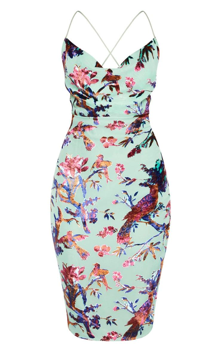 Aqua Floral Flocked Cowl Neck Midi Dress 3