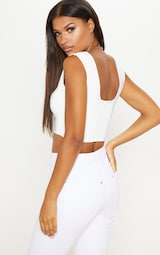 White Second Skin Slinky Square Neck Crop Top 2