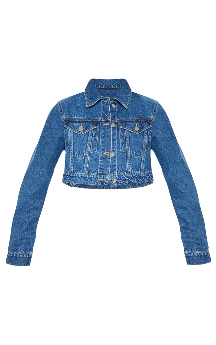 Mid Washed Cropped Rigid Denim Jacket 3