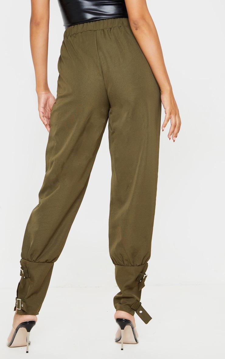 Khaki Buckle Cuffed Cargo Pants 4
