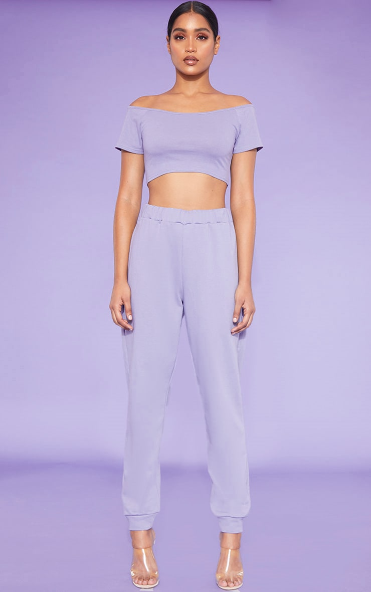 RECYCLED Violet Bardot Short Sleeve Crop Top 4