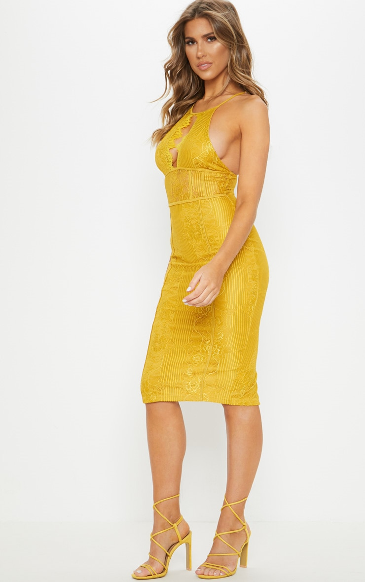 Mustard Lace Cut Out Front Cross Back Midi Dress  4