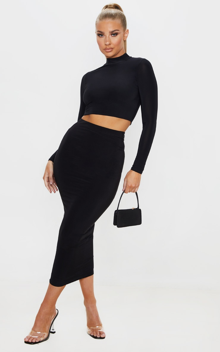 Rio Black Slinky High Neck Long Sleeve Crop Top 4