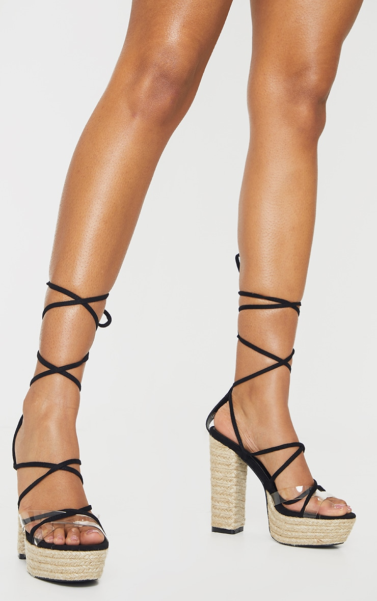 Black Espadrille Platform Ghillie Lace Up Sandal 1