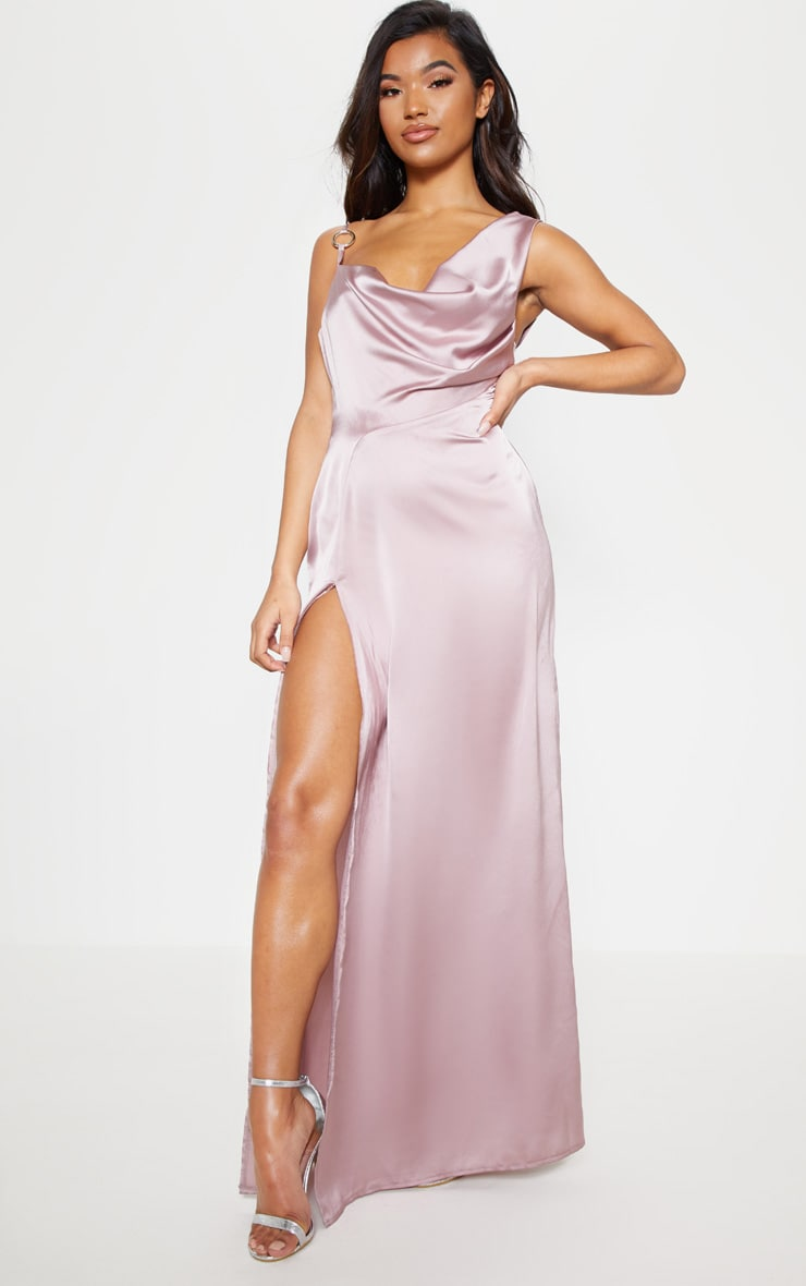 Pale Mauve Satin Ring Detail Cowl Extreme Split Maxi Dress 2