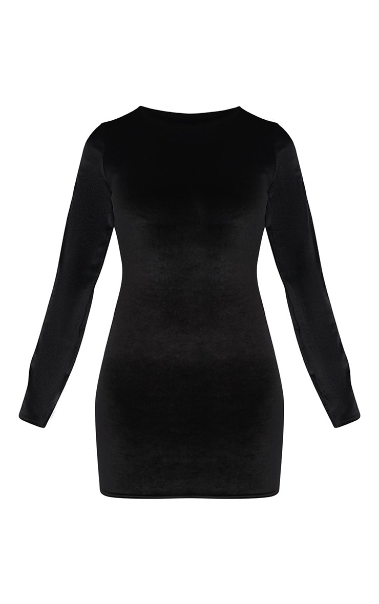 Black Velvet Contrast Sleeve Stripe Bodycon Dress 3