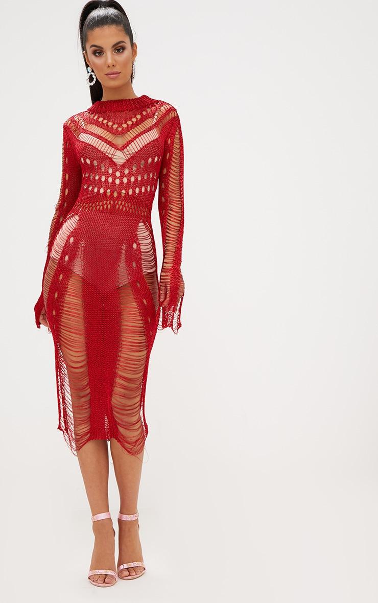 Red Metallic Long Sleeve Midi Dress 5