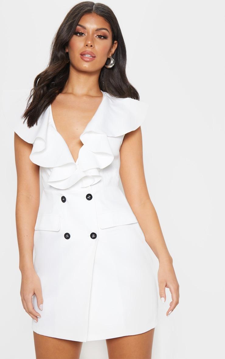 White Frill Detail Sleeveless Blazer Dress  1