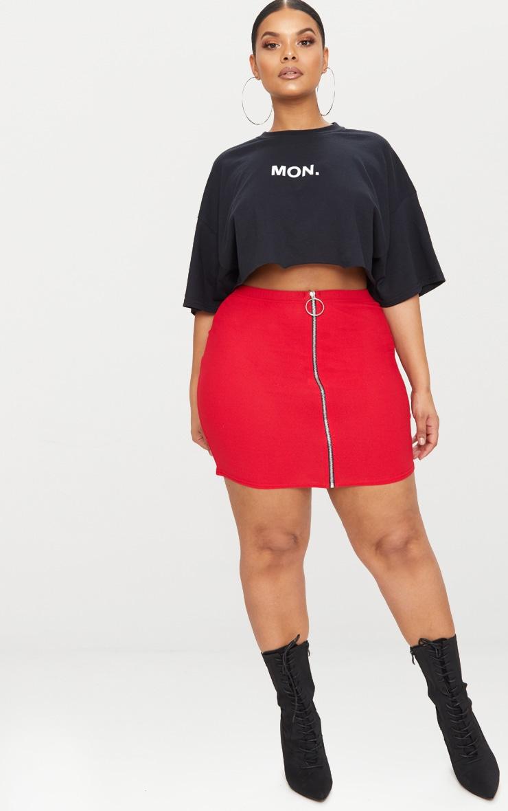 Plus Red Ring Pull Detail Mini Skirt 4