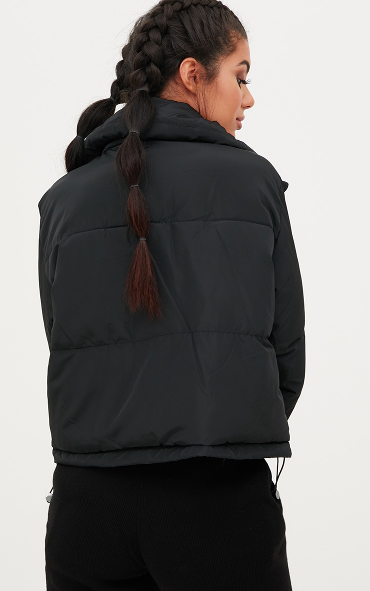 Black Cropped Puffer Jacket 2