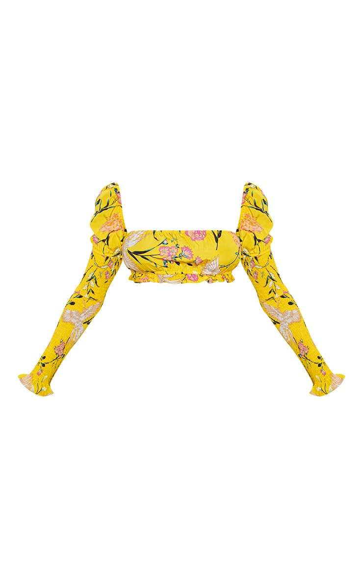 Yellow Floral Print Square Neck Shirred Sleeved Crop Top 3