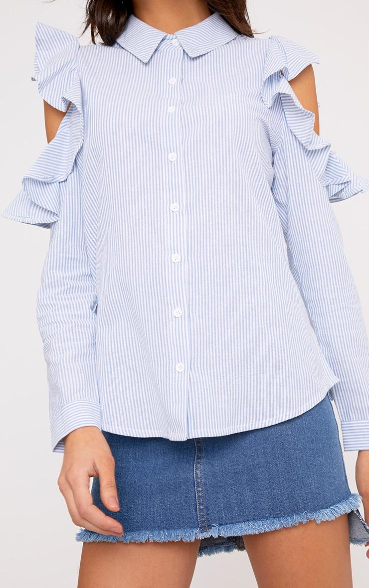 Caleigh Blue Cotton Stripe Frill Open Shoulder Shirt 5