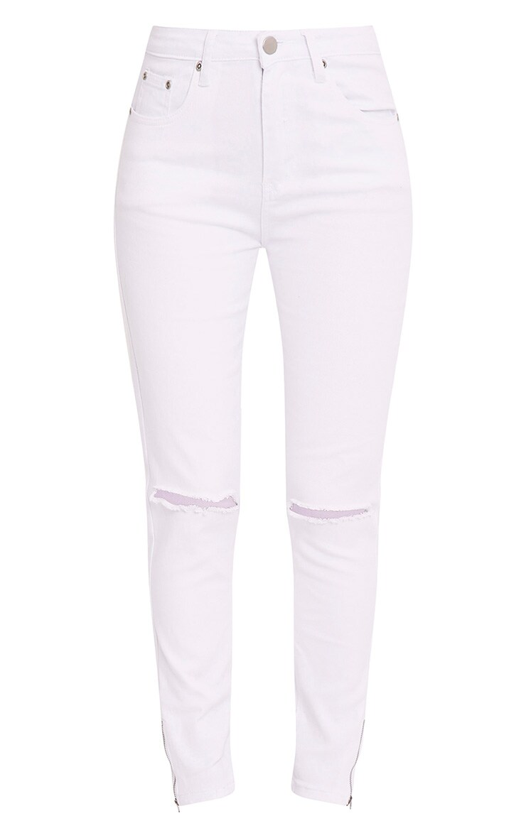White Knee Rip 5 Pocket High Waisted Skinny Jean 3