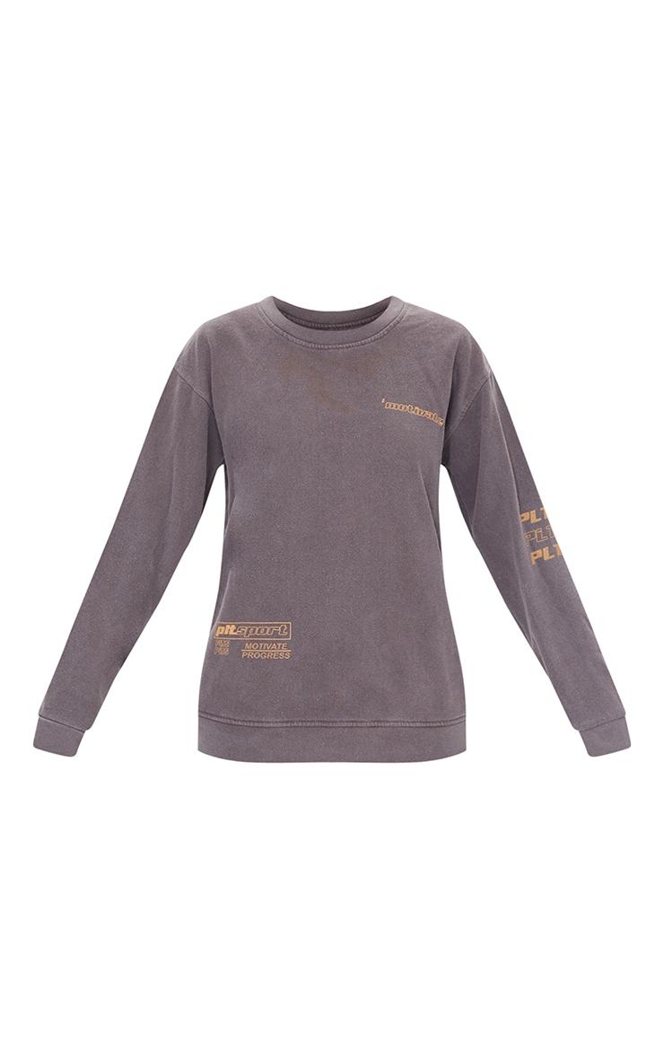 Chocolate Tonal Oversized Sports Sweater 5