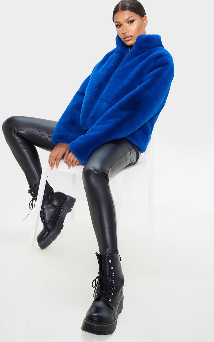 Cobalt Faux Fur Jacket 1