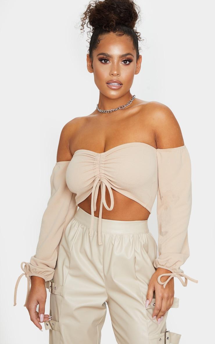 Sand Ruched Detail Bardot Long Sleeve Crop Top 1