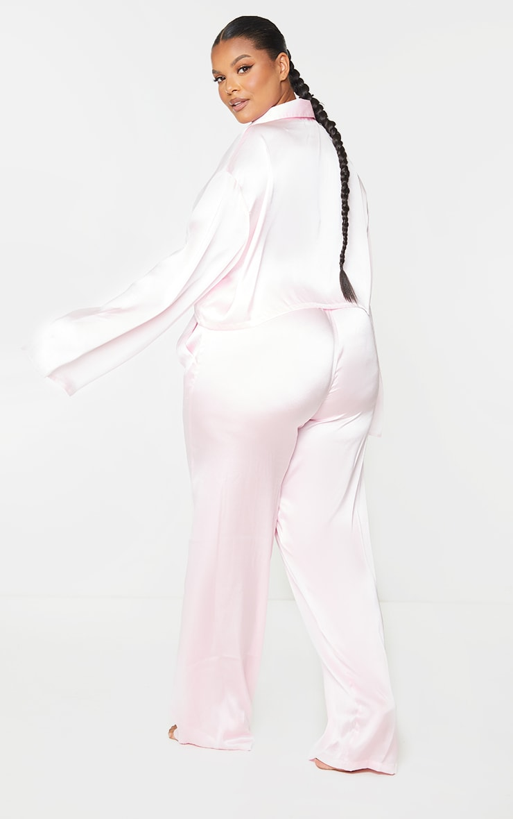 Plus Pink Cropped Long Sleeve Trousers Satin PJ Set 2