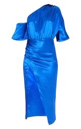 Colbalt Satin One Shoulder Ruched Skirt Midi Dress 5