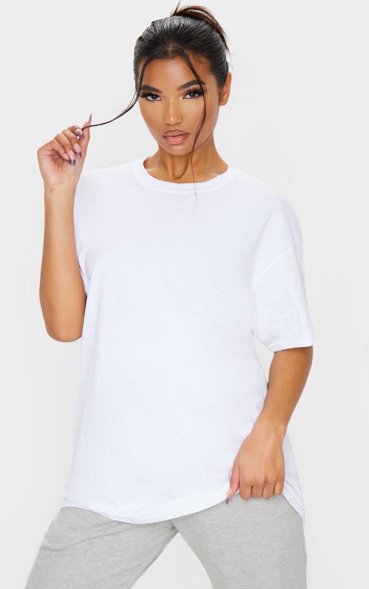 White Oversized Boyfriend T Shirt  1