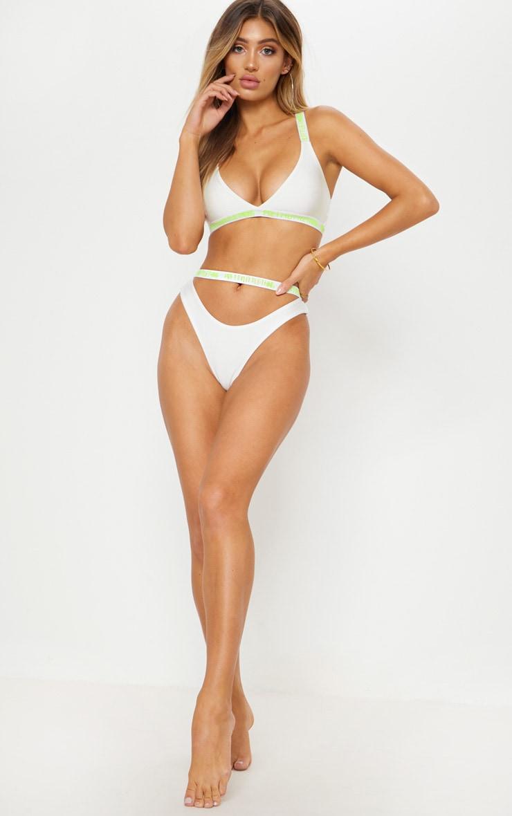 PRETTYLITTLETHING White Fluorescent Cut Out Bikini Bottom 5